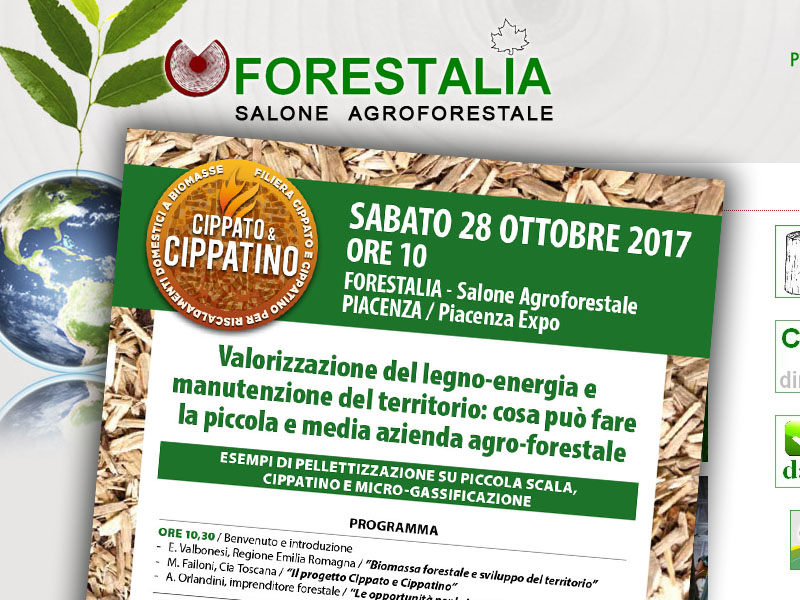 """Sabato 28 ottobre 2017 il progetto """"Cippato & Cippatino"""" a Piacenza in occasione di Forestalia"""